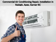 Commercial Air Conditioning Repair, Installation in Raleigh, Apex, Garner NC