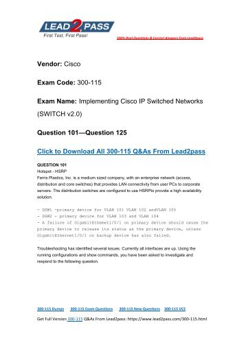 Free Lead2pass Cisco 300-115 Dumps VCE Download (101-125)