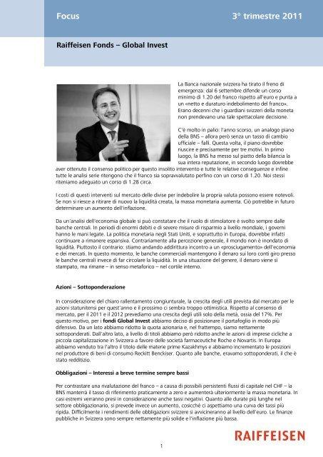 Focus 3° trimestre 2011 - Raiffeisen