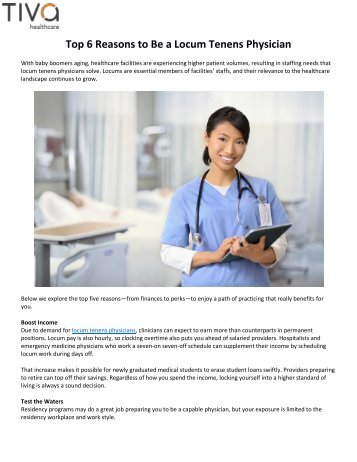 Top 6 Reasons to Be a Locum Tenens Physician