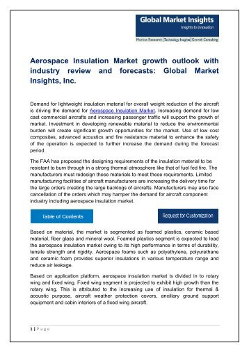 Aerospace Insulation Market analysis research and trends report for 2017-2024