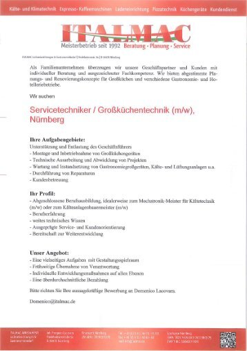 Ausschreibung für Stelle PDF