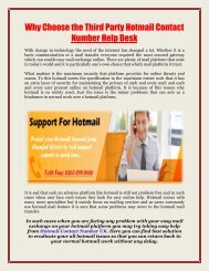 Why Choose the Third Party Hotmail Contact Number Help Desk