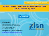 Global Cancer Drugs Market Would Reach USD $161.30 Billion By 2021