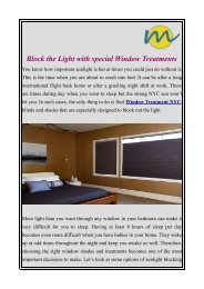 Block the Light with special Window Treatments
