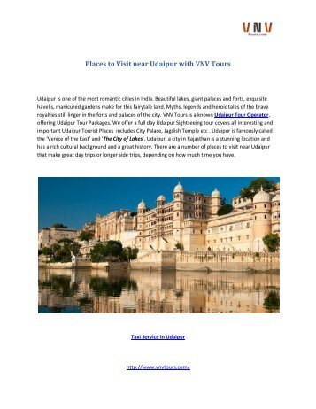 Places to Visit near Udaipur with VNV Tours