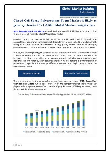 Spray Polyurethane Foam Market regional outlook & industry Forecast PDF
