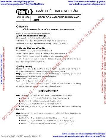 Bài tập Đại số lớp 12 chương HÀM SỐ có lời giải chi tiết - Thầy Khánh