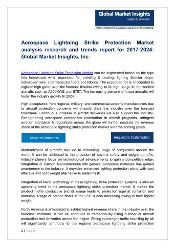 Aerospace Lightning Strike Protection Market analysis research and trends report for 2017-2024