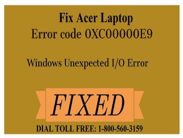 Dial 1800-560-3159 to Fix Acer Error 0xc00000e9