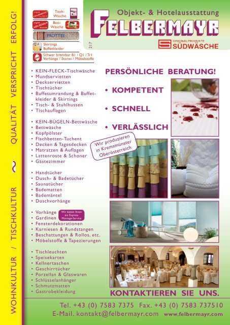 Herbst- Katalog Hotelaustattung Felbermayr