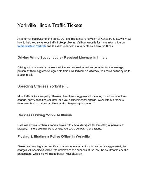 Yorkville Illinois Traffic Tickets Information