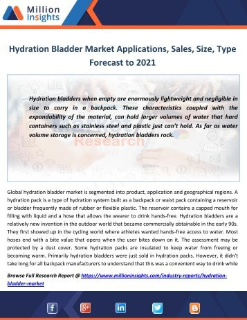 Hydration Bladder Market Applications,Sales, Size,Type Forecast to 2021