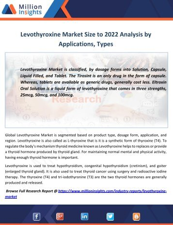 Levothyroxine Market Size to 2022 Analysis by Applications, Types