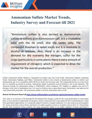 Ammonium Sulfate Market Trends, Industry Survey and Forecast till 2021