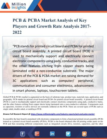 PCB & PCBA Market Analysis of Key Players and Growth Rate Analysis 2017-2022