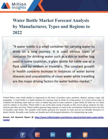 Water Bottle Market Forecast Analysis by Manufacturer, Types and Regions to 2022