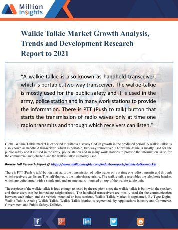 Walkie Talkie Market Growth Analysis, Trends and Development Research Report to 2021