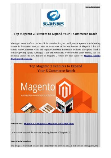 Top Magento 2 Features to Expand Your E-Commerce Reach