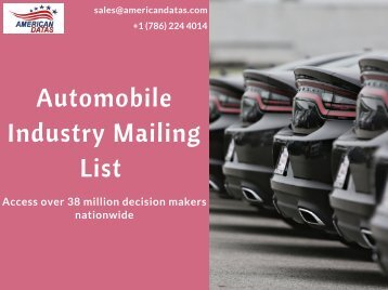 Automobile Industry Mailing List | Auto Dealers Email List | Sales Leads