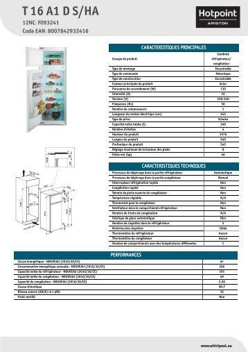 KitchenAid T 16 A1 D S/HA - T 16 A1 D S/HA FR (F093241) Scheda Prodotto
