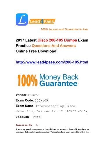 Latest Cisco 200-105 Dumps Exam Questions And Answers Download