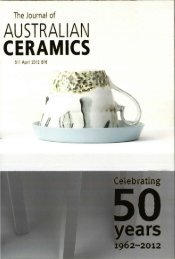 The Journal of Australian Ceramics Vol 51 No 1 April 2012