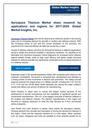 Aerospace Titanium Market analysis research and trends report for 2017-2024