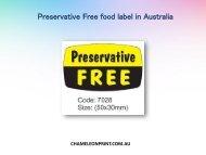 Preservative Free food label in Australia - Chameleon Print