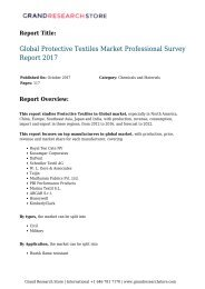 Global Protective Textiles Market Professional Survey Report 2017