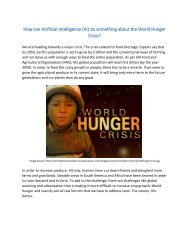 How can Artificial Intelligence (AI) do something about the World Hunger Crisis?
