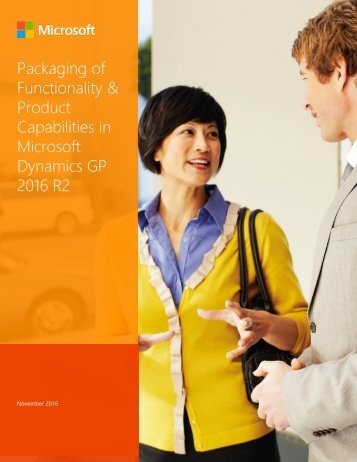 Packaging of Functionality & Product Capabilities in Microsoft Dynamics GP 2016 R2