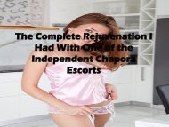 The Complete Rejuvenation I Had With One of the Independent Chapora Escorts