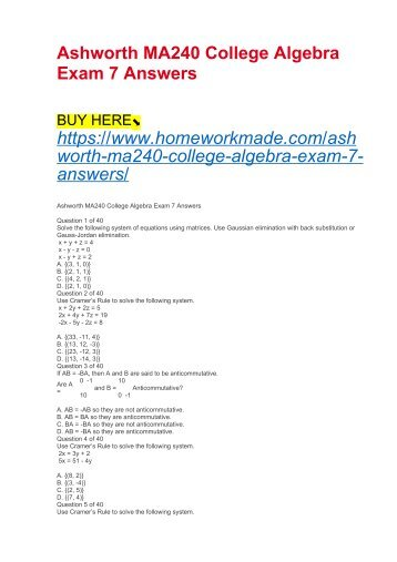 Ashworth MA240 College Algebra Exam 7 Answers