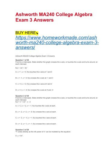 Ashworth MA240 College Algebra Exam 3 Answers