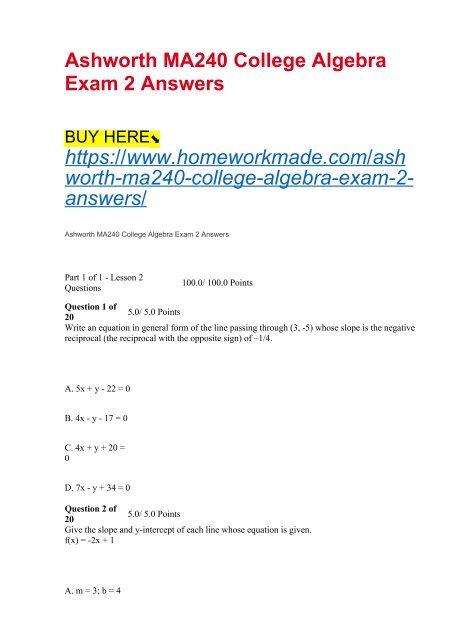 Ashworth Ma240 College Algebra Exam 2 Answers