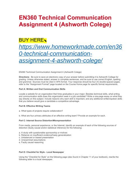 En360 Technical Communication Assignment 4 Ashworth Colege