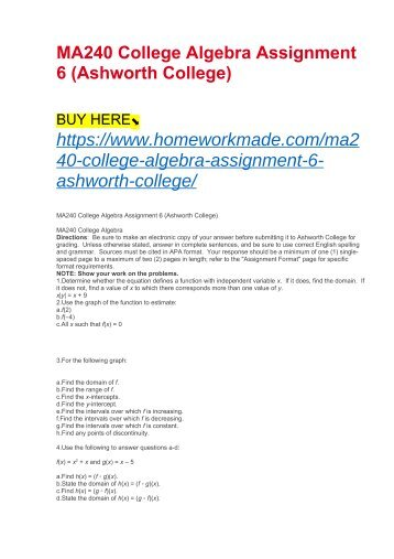 MA240 College Algebra Assignment 6 (Ashworth College)