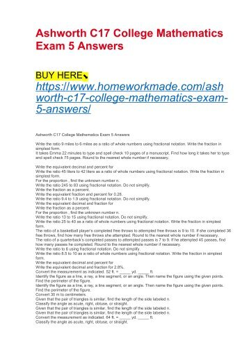 Ashworth C17 College Mathematics Exam 5 Answers
