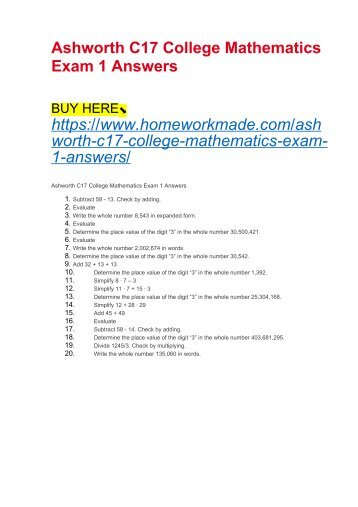 Ashworth C17 College Mathematics Exam 1 Answers