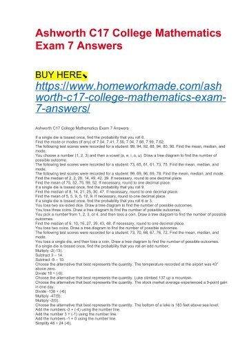 Ashworth C17 College Mathematics Exam 7 Answers