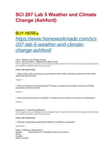 sci 207 weather and climate change Snaptutorial is a online tutorial store we provides sci 207 week 5 lab 5 weather and climate change.