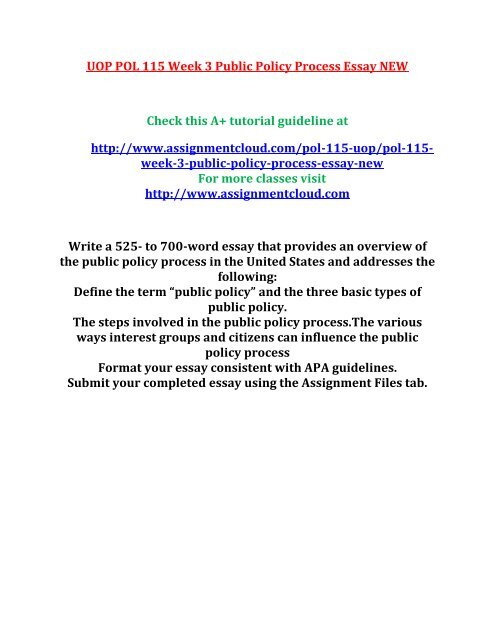 Uop Pol  Week  Public Policy Process Essay New