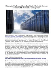 Datacenter Deployment Spending Market Market to Grow at a Remarkable Pace in the Coming Years