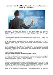 Interactive Whiteboard Market Market to Grow at a Remarkable Pace in the Coming Years