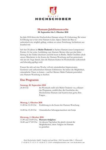 Hochschober Programm Hamam Woche Herbst 2018