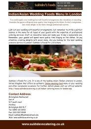 Indian Asian Wedding Foods Menu In London