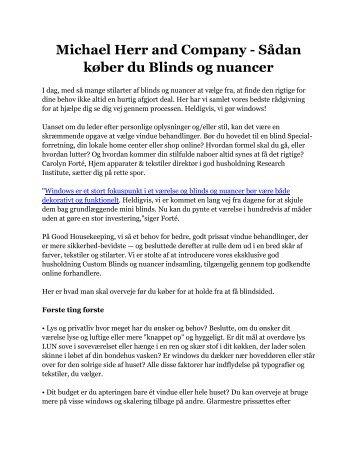 Michael Herr and Company - Sådan køber du Blinds og nuancer