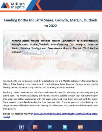 Feeding Bottle Industry Share, Growth,Margin, Outlook to 2022