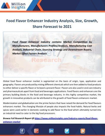 Food Flavor Enhancer Industry Analysis, Size, Growth,Share Forecast to 2021